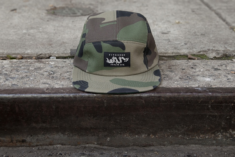 5BORO NYC WOODLAND CAMO FIVE PANEL HAT - FRONT VIEW